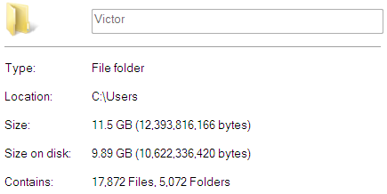 Victor (Personal) folder size
